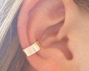 Hammered Ear Cuff, 14K Yellow Gold, Non Pierce Ear Cuff