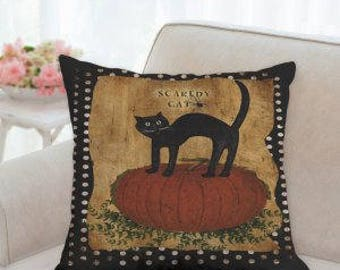 Scaredy Cat Halloween Pillow