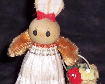Vintage bunny doll,wood and raffia,miniature,girl bunny,lady rabbit,