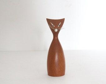 Vintage Mid-Century Modern Wood Cat Figurine / Teak Cat