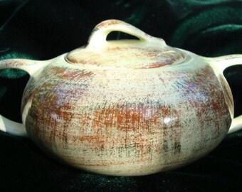 """Vernonware Sugar Bowl - Metlox Poppytrail - California Pottery Sugar Bowls - """"Raffia"""" by Metlox - Vernonware """"Raffia"""" - Vernonware"""