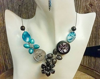 Colourful necklace set, Summer necklace, Turquoise necklace, black necklace, Flower necklace, Button jewelry, Fashion necklace, Bib necklace