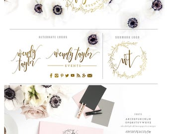 laurel wreath logo -  logo design  - calligraphy logo - gold logo - watercolor logo - business branding - pretty logo - freshmint paperie