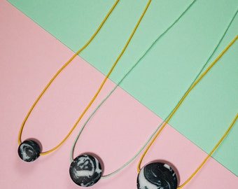 SAMPLES Black & White Marbled Disc Necklace- 3 sizes available // on a choice of coloured cotton cords