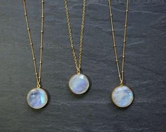 Moonstone Necklace / Gold Moonstone Neckalce / Moonstone / Moonstone Jewelry / Gold Moonstone Jewelry / Rainbow Moonstone / Gift For Mom
