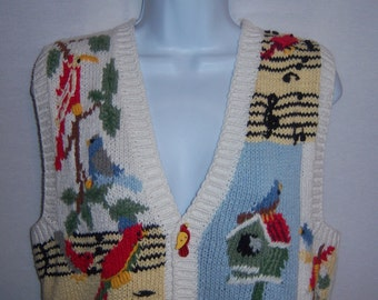 Vintage BellePointe White Yellow Blue Song Birds Bird House Motif Knitted Cotton Ramie Sweater Vest Small Sleeveless Sweater Cardinals