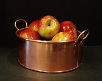 Vintage Jam Pan with Brass Handles / Preserve Pan / Confiture