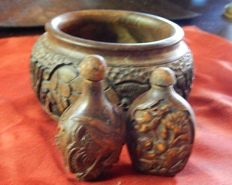 "Zimbabwe Hardwood carved bowl with 2 Chinese carved snuff bottles...about 6""x3.5"", thick and heavy"