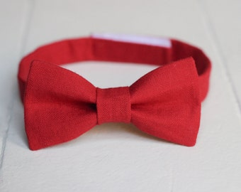 Boys Red Bow Tie -  Toddler Red Valentines Bow Tie, Red Baby Bow Tie, Little Boys Bow Tie, Red Toddler Bow Tie, Toddler Boys Bow Tie