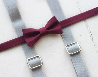 Burgundy bow tie and suspenders, gray suspenders, toddler bow tie, gray toddler boys suspenders baby suspenders baby bow tie, boys bow tie