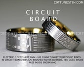 Tungsten Wedding Rings, Hers 6MM OR His 10MM in Circuit Board Design Engagement rings Promise Rings