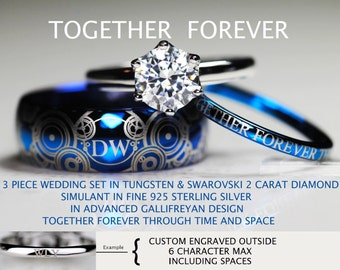 doctor who inspired his 8mm tungsten and hers 2 carat swarovski diamond simulant in 925 sterling - Doctor Who Wedding Ring