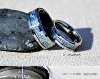 6MM  OR  8MM Doctor Who Inspired Tardis Tungsten Wedding Ring, Free Inside  Engraving