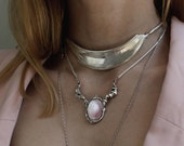 Limited Pastel pink Mother Of Pearl sterling silver Handcarved necklace-snake chain in solid sterling silver