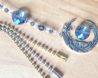 Celestial light pull, ceiling fan pull or sun catchers ornament. Blue Crystal moon pull chain, decorative ball chain pulls, lighting decor.
