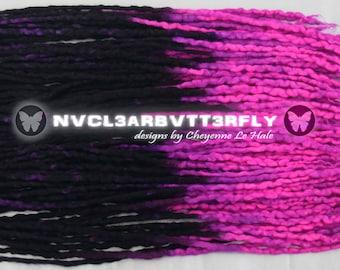 "Wool, Silk & Mohair Dreads - UV ""Cyber Princess"" 40DE - 20""- 24"" (Total Length = 40""- 48"") Black Violet Purple Fuchsia Pink Dreadlocks"