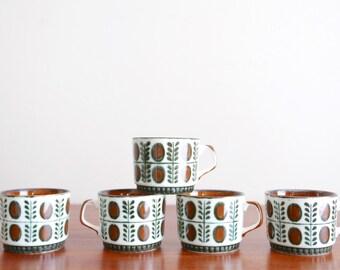 5 Boch La Louvière Belgium coffee cup, Noix, 1960s / brown and green porcelain