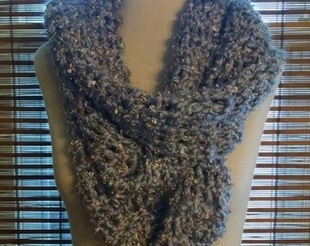 Soft Pewter Crochet Infinity Scarf with Metallic Highlights