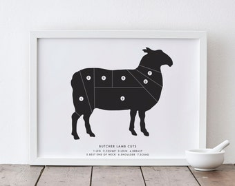 A4 Lamb Butcher Print - numbered butcher chart print - butcher cuts - butcher diagram - butcher print wall art