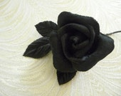 Small Black Velvet Millinery Rose Bud with Leaves for Hats Fascinators Corsage Floral Crowns Hair Pins Crafts