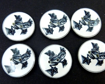 "6 Flying or Gliding Frog  Sewing Buttons.  3/4"" or 20 mm Round. Handmade Buttons. Vintage Image.  Washer and Dryer Safe."