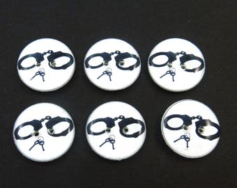"6 Handcuff Sewing Buttons.  Handcuff and Keys Handmade Buttons. 3/4"" or 20 mm"