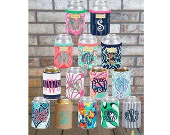 Monogrammed Can Wrap, Personalized Beverage Insulator, Can Holder, Bottle Wrap, Monogram Can Hugger, Can Cooler, Bottle Cooler