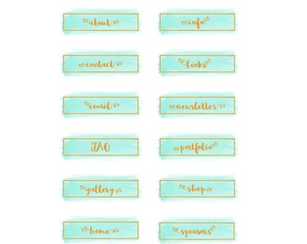 Mint Watercolor Blog Button Set, Gold Foil Website Buttons, Navigation Icons, Social Media Icons, Blog Sidebar Banners, Mint Blog Elements