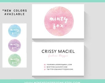 Premade Business Card Design, Pink Watercolour, MOO Double Side, Premade Watercolor Business Card, Printable Business Card, Minty Fox