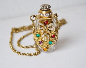 Mini gold bottle necklace.Mini glass bottle.