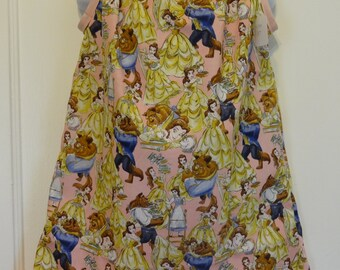 Beauty and The Beast Girls Pillowcase Dress, Made to Order Size 6m, 9m, 12-18m, 18-24 months, and Size 2 to 8, Princess Belle