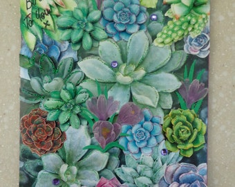 One of A Kind Large 3D *Love for Succulents* Handmade Birthday Card by Christine with matching envelope and gift tag
