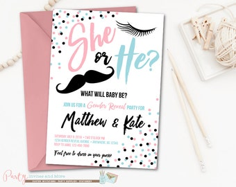 Gender Reveal Invitation, Gender Reveal Party, Eyelashes, Mustaches, He or She Gender Reveal Invitation, Pink and Blue Invitation