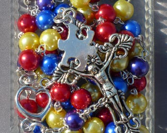 Silver - Autism / Aspergers Awareness - 8mm Glass Rosary
