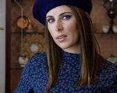 Wool beret - French beret - Woman wool hat - Winter beret - Blue beret
