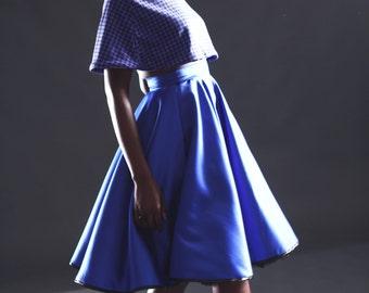 Made to Order, 50s vintage inspired royal blue duchess satin full circle swing skirt, black satin bound hem, sizes UK 6-24