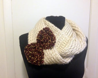Knit bow scarf - cream with burgundy red bow