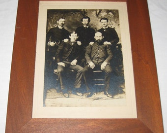 """ANTIQUE PHOTOGRAPH FATHER Four Sons In Wooden Frame 8 1/2"""" x 10 1/2"""""""