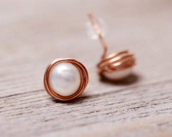 pearl stud earrings copper stud minimalist earrings pearl earrings copper earrings every day earrings modern earrings simple stud earring