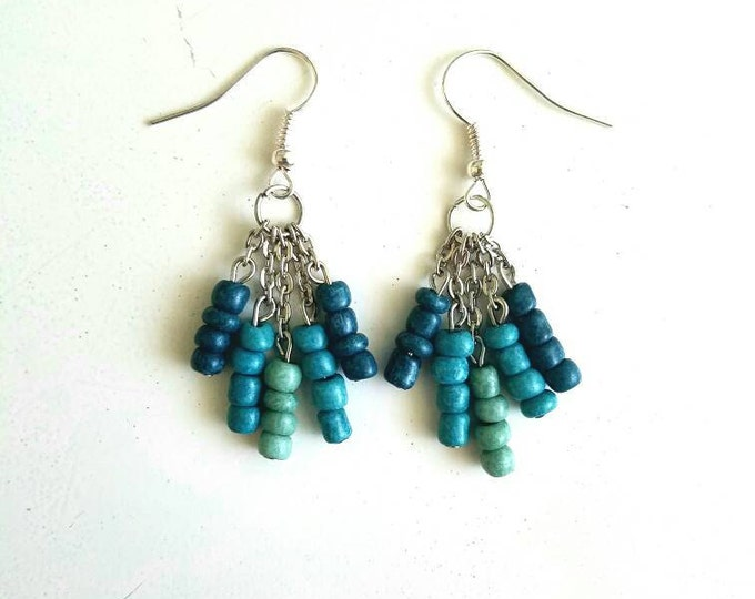 Green Teal Blue Fade Ombre Dangle Drop Chain Earrings