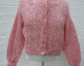 Women's cardigan vintage clothing pink top rustic clothes ladies crop cardigan spring summer top 1980s fashion knit handmade UK gift for her