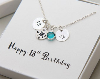 Birthday Necklace, Personalized 18th Birthday Necklace, 18th Birthday Gift, Compass Necklace, Sterling Silver Initial Necklace, 18th Gift