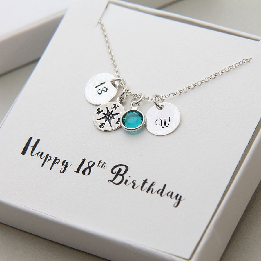 Personalized 18th Birthday Necklace Initial Custom