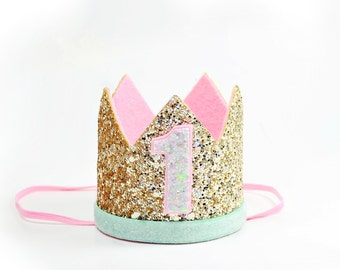 Gold Birthday Crown    Gold and Pink Birthday Crown    Girl Birthday Crown    Third Birthday Crown    First Birthday Girl Outfit