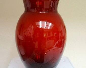 Vintage Ruby Red Glass Baluster Vase