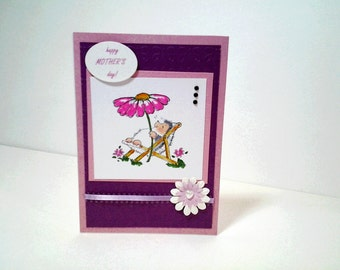 Happy Mother's Day - Handmade Greeting Card using Penny Black Stamp & Copic Markers