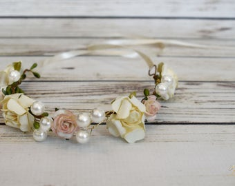 ON SALE Handcrafted Newborn Pink and Ivory Flower Crown - Pearl Flower Crown - Newborn Photography Prop - Baby Shower Gift - Baby Girl Acces