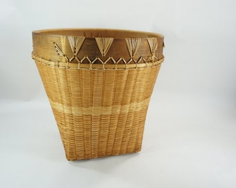 Rosenthal-Netter Inc Woven Basket, Wicker Basket, Large Plant Basket, Vintage, Aged, Tall Round Tapered Basket, Made in Indonesia FREE SHIP