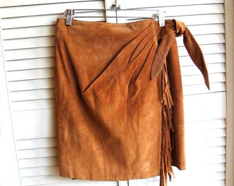 Vintage 1980's High Waisted Fringed Camel Suede Wrap Mini Skirt Size Small