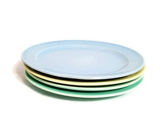 LuRay Pastel Bread Plates Taylor Smith Taylor Vintage Dessert Replacement Pieces Green Blue Yellow